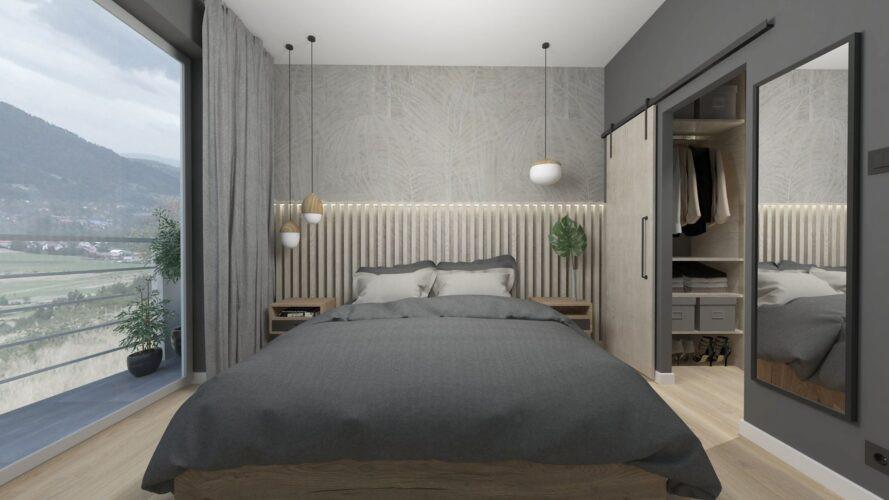 Aranżacja sypialni z dużym oknem