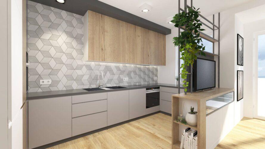 Aranżacja kuchni z wzorem geometrycznym na ścianie