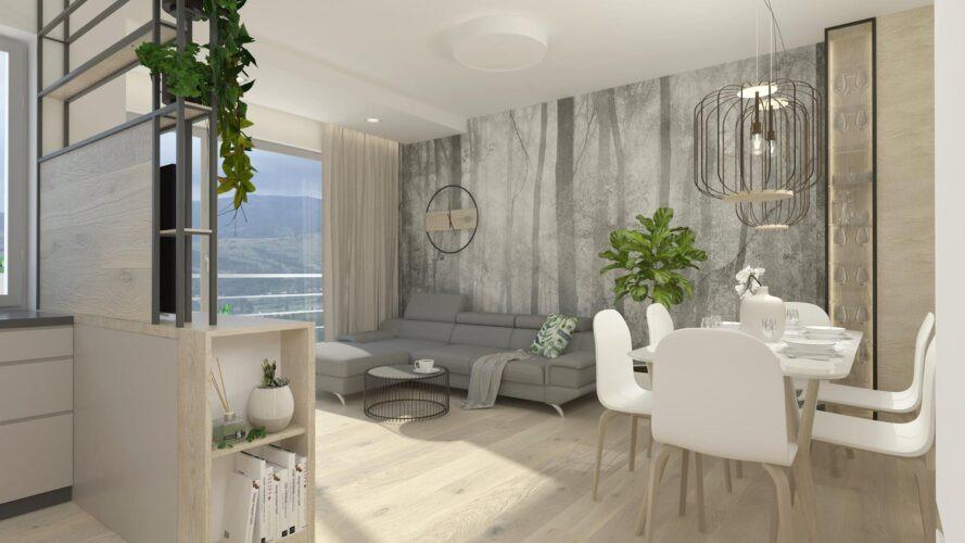 Aranżacja salonu z tapetą z motywem leśnym na ścianie