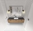 Aranżacja łazienki z czarnymi kinkietami na ścianie