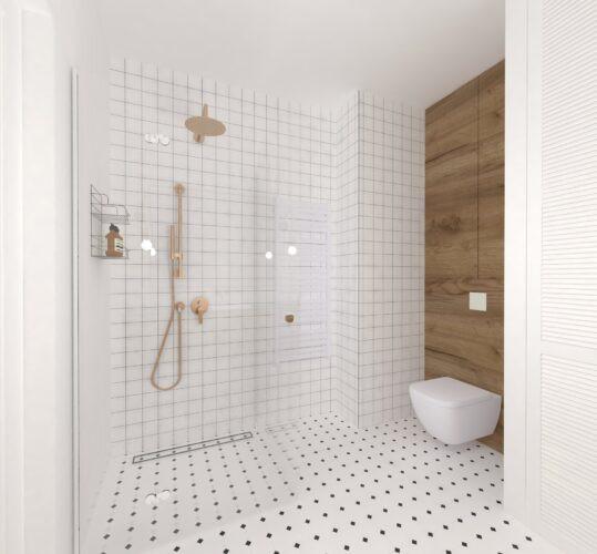 Aranżacja łazienki z prysznicem i miedzianą baterią prysznicową