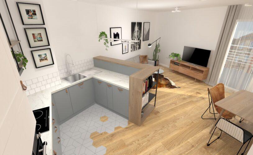 Aranżacja małej kuchni otwartej na salon z czarno-białymi plakatami