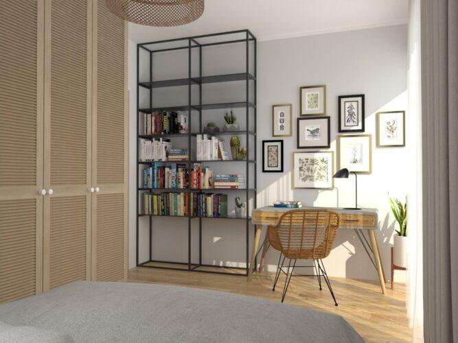 Aranżacja sypialni z ażurową, drewnianą szafą