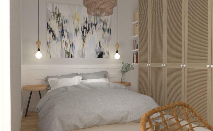 Aranżacja sypialni z ażurową szafą i łóżkiem kontynentalnym