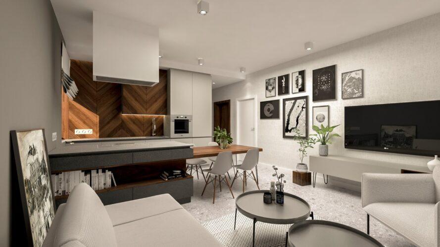 Aranżacja salonu z telewizorem na ścianie