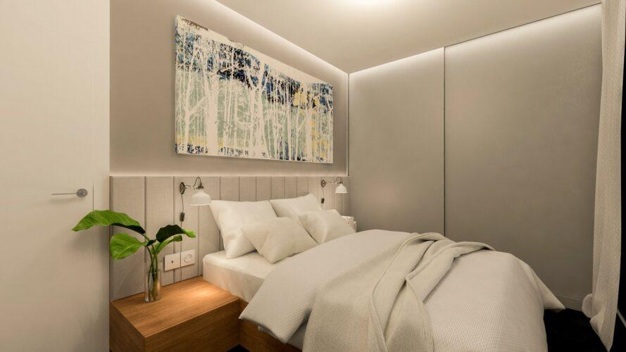 Aranżacja sypialni z szafą we wnęce