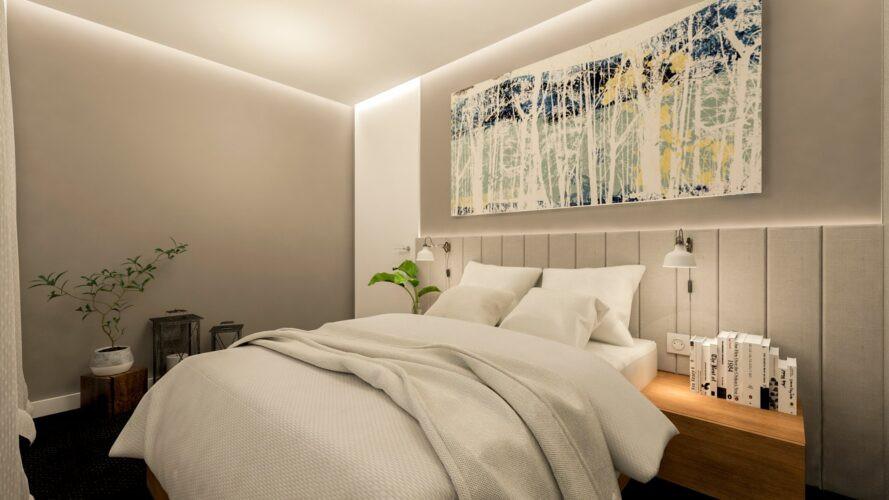 Aranżacja sypialni w szarościach z kinkietami nad łóżkiem