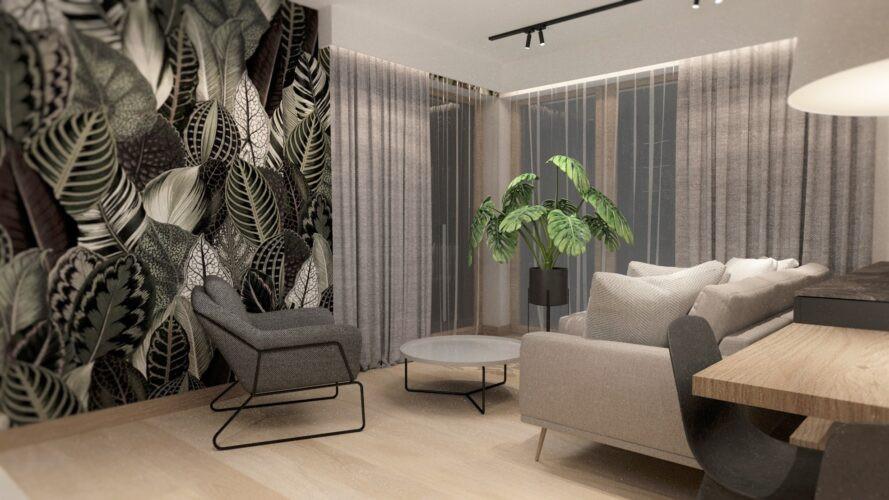 Salon z tapetą z elementami z liści