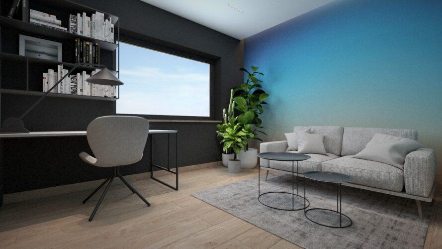 Projekt pokoju do pracy z niebieską ścianą