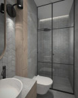 Łazienka w stylu loft z prysznicem i muszlą wiszącą