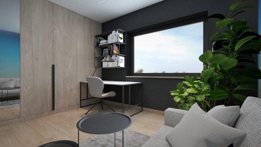 Projekt pokoju do pracy w domu z meblami w zabudowie