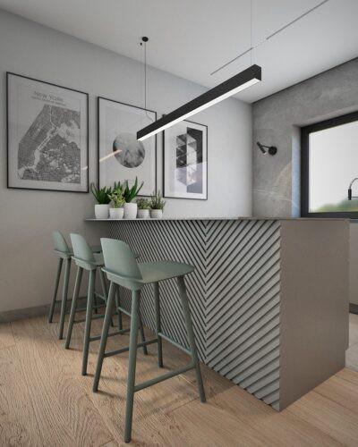 Projekt kuchni z drewnianym barem