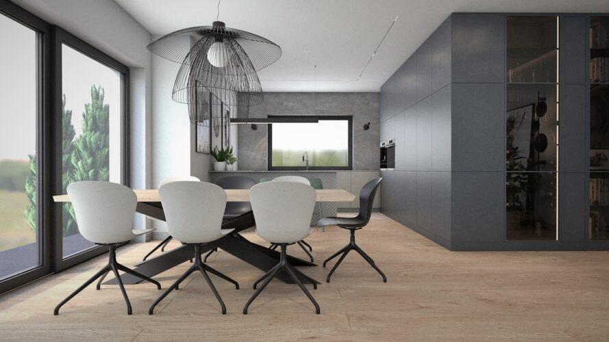 Jadalnia z designerskim stołem w stylu loft