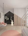 Pokój dziecięcy z białą huśtawką montowaną do ściany