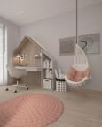 Pokój dziecięcy z biurkiem zaprojektowanym jako domek drewniany