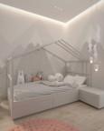 Pokój dziecięcy dla uczennicy z łóżkiem domek