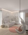 Pokój dziewczynki z łóżkiem domek i huśtawką przymontowana do sufitu