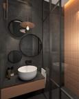 Łazienka z szarymi płytkami i okrągłymi lustrami