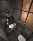 Łazienka z ciemnoszarymi płytkami