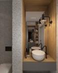 Mała łazienka z tynkiem mozaikowym na ścianie