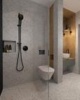 Łazienka z tynkiem mozaikowym i prysznicem typu walk-in