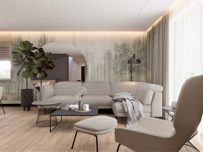 Salon z tapetą z motywem lasu