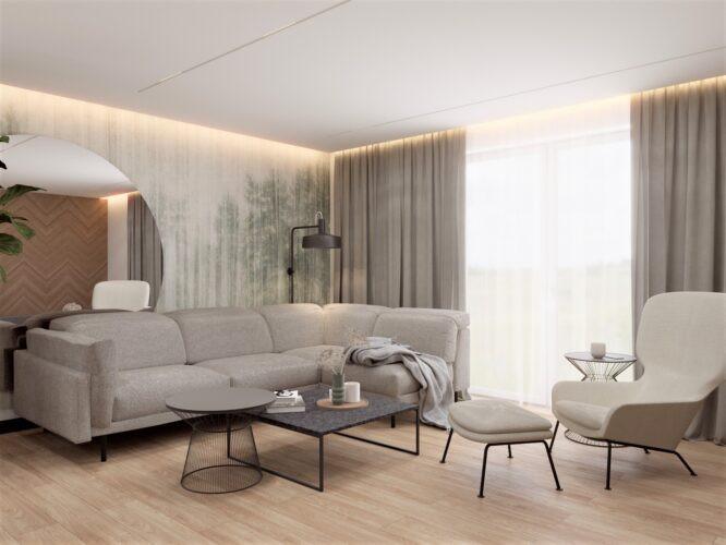Salon z ogromnym, okrągłym lustrem na ścianie
