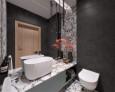 Łazienka z kamieniem ozdobnym na ścianie