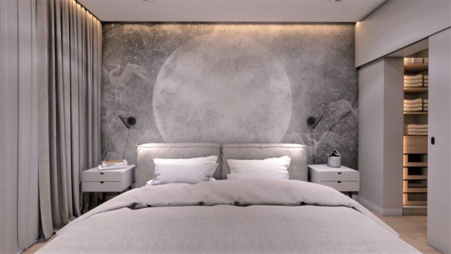 Sypialnia z tapetą, na której znajduje się kosmos