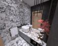 Łazienka z białym, prostokątnym zlewem nablatowym