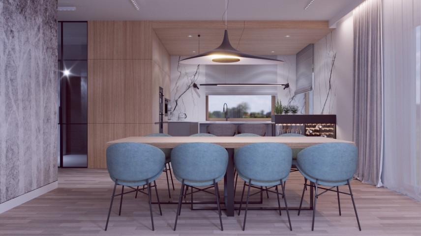 Jadalnia z dużym prostokątnym, dębowym stołem