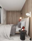 Mała sypialnia z drewnianymi panelami na ścianie