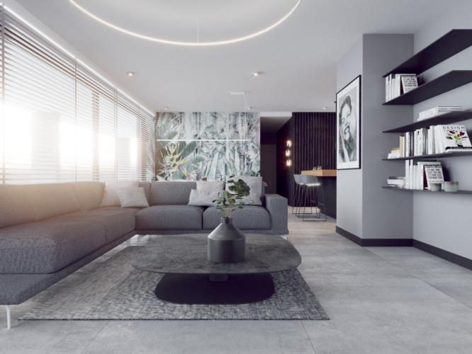 Salon w stylu nowoczesnym z dużym, szarym, tapicerowanym narożnikiem