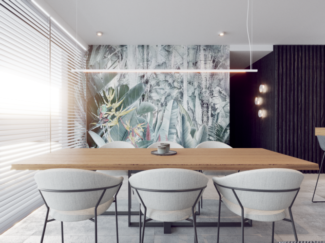 Salon w stylu Art Deco z tapetą floralną na ścianie