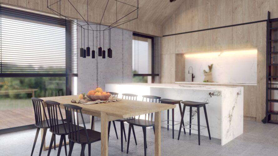 Jadalnia z kuchnia w zabudowie z marmurową wyspą