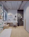 Designerski pokój ucznia ze ścianką wspinaczkową