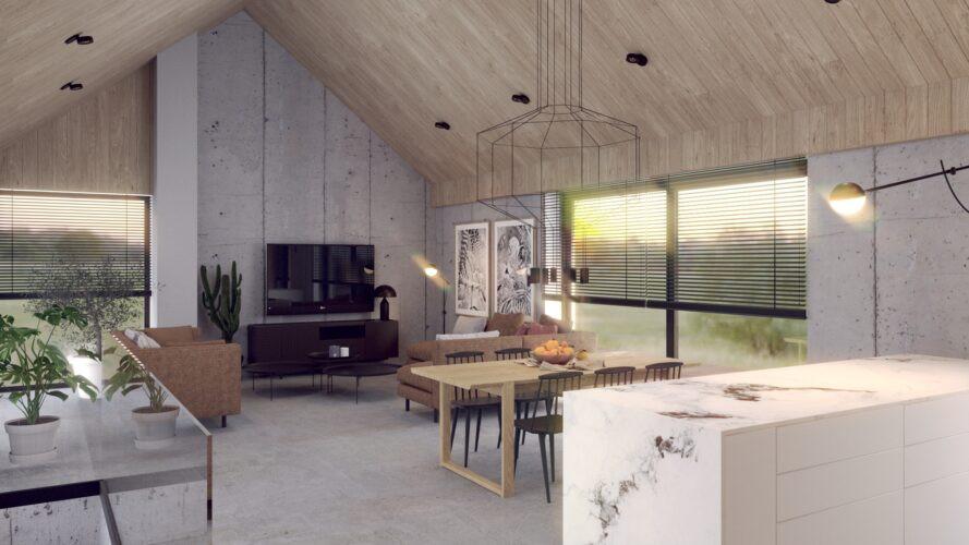 Dom w stylu skandynawskim z drewnianym sufitem