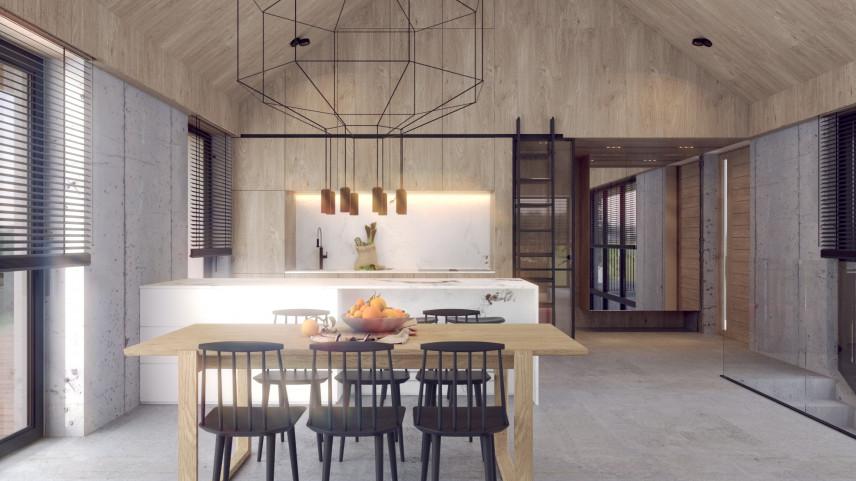 Wnętrze domu z designerska lampą wiszącą w stylu loft