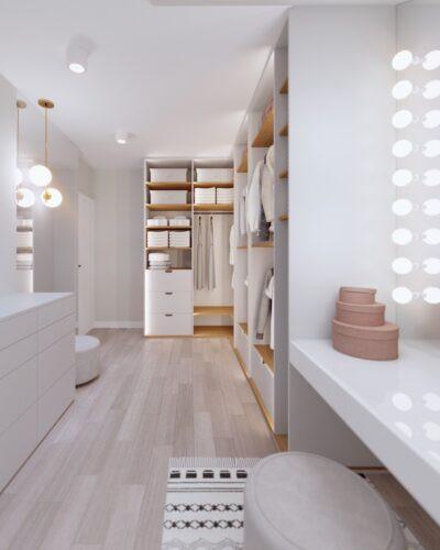 Przestrzenna garderoba w stylu Art Deco
