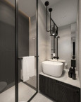 Łazienka z modną czarną, lampą wisząca i białym zlewem nablatowym