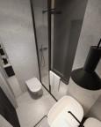 Mała łazienka z prysznicem, muszlą wiszącą i czarną lampą wiszącą