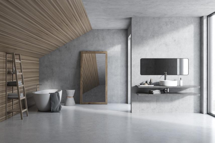 Minimalistyczna łazienka w kolorze szarym