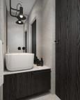 Mała, klimatyczna łazienka w czerni i szarościach