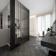 Biuro w sypialni z drewnianą ścianą