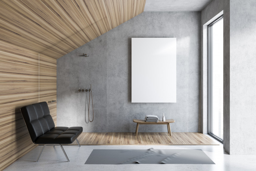 Minimalistyczna łazienka betonowo-drewniana