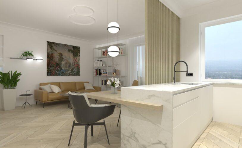 Kuchnia, jadalnia i salon w jednym pomieszczeniu