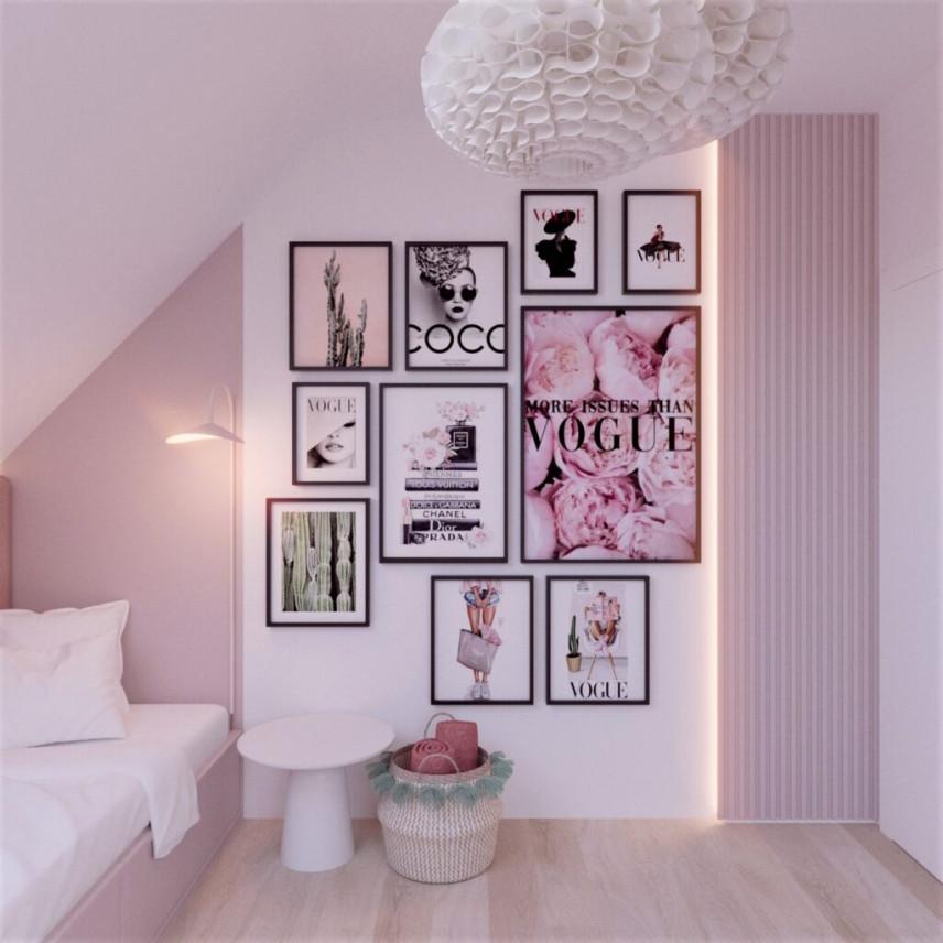 Pokój nastolatki z różowymi ścianami