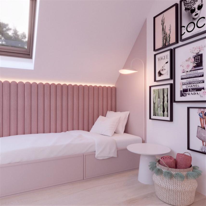 Łóżko nastolatki z tapicerowanymi panelami na ścianie