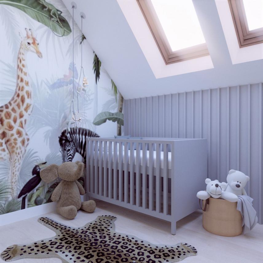Tapeta z motywem dżungli w pokoju niemowlaka