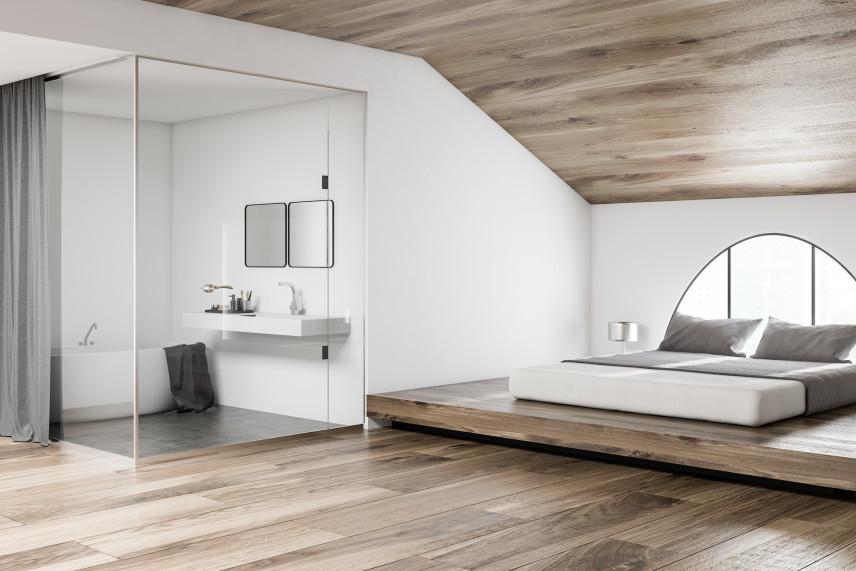 Designerska łazienka w sypialni